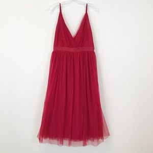Express Dress Stunning Red Tulle Fit +Flare Wow!